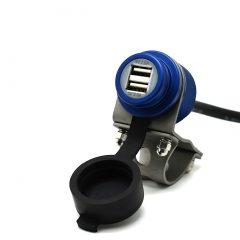 4,6Amp USB-uttak Blue – Aluminium